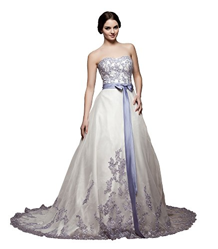 VogueZone009 Womens Sleeveless Sweetheart Satin Wedding Dress with Bowknot, ColorCards, 16 by VogueZone009