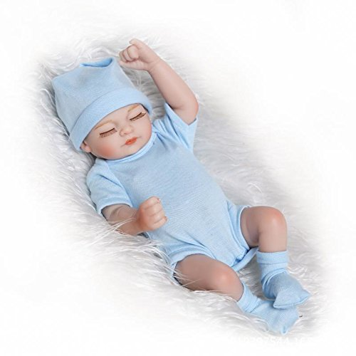 Handmade Real Like Silicone Full Body Reborn Baby Doll Newborn Lovely Sleeping Boy 11 inches Blue Outfit by Tianara