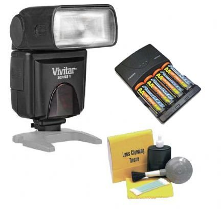 Pentax Flash (P-TTL) Bounce, Zoom, Swivel Head. (Alternative To Pentax AF-360FGZ) + High Powered AC Rapid Charger With 4AA 2900 Mah Batteries + Nwv Direct 5 Piece Cleaning Kit by Vivitar/Digital