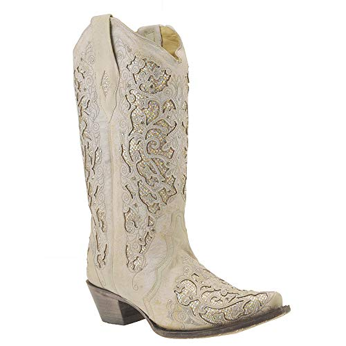 White Cowboy Boots For Wedding (Corral Womens White Glitter Inlay & Crystals, Size: 11, Width: M)