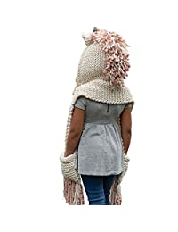 Rich Fashion Hats Girls Woolen Scarf Hat Kids Winter Unicorn Cap Pocket Pink