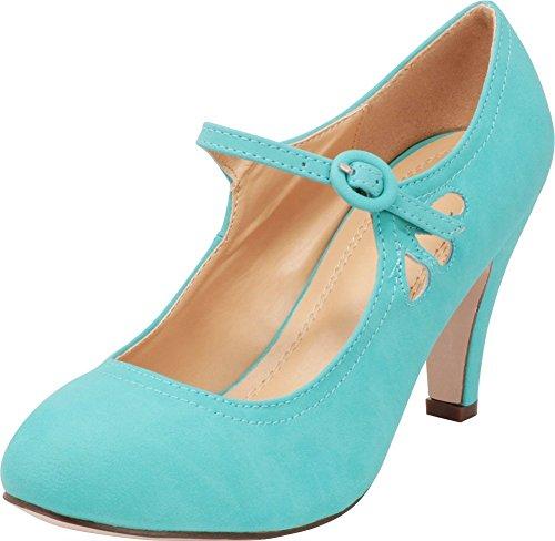 Cambridge Select Women's Round Toe Mid Heel Mary Jane Dress Pump (9 B(M) US, Mint)