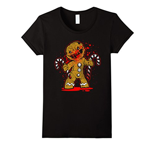 Womens Scary Zombie Gingerbread Man T-shirt Large Black