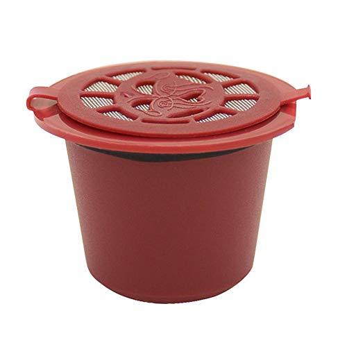 Akaddy Cubierta de Filtro de cápsula de café de Recarga Reutilizable máquina Nespresso (Rojo)
