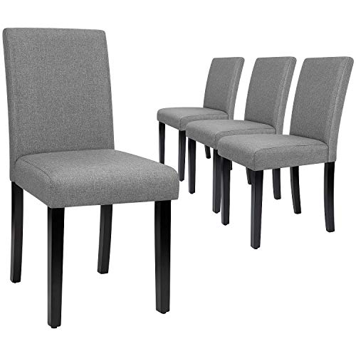 Furmax Dining Chairs Urban Style Fabric Parson Chair Kitchen Livng Room Armless Side Chair with Solid Wood Legs Set of 4 (Gray)