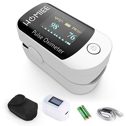 - HOMIEE Blood Oxygen Saturation Monitor with Alarm, Heart Rate Monitor Fitness Tracker with Carrying Bag, 2 AAA Batteries, Lanyard, Automatic Shutdown Fast Reading, Sport and Aviation Use Only