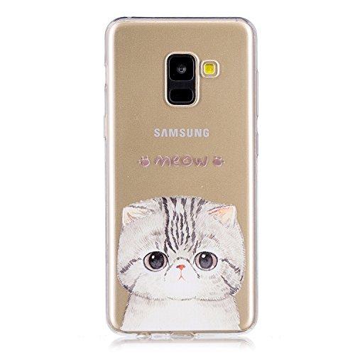 Funda para Samsung Galaxy A8 2018 (SM-A530) , IJIA Transparente Gatito TPU Silicona Suave Cover Tapa Caso Parachoques Carcasa Cubierta para Samsung Galaxy A8 2018 (5.6)