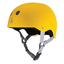 Triple Eight Brainsaver Rubber Multi-Impact Skate Hardhat with Sweatsaver Liner (Yellow Rubber - L) by Triple Eight