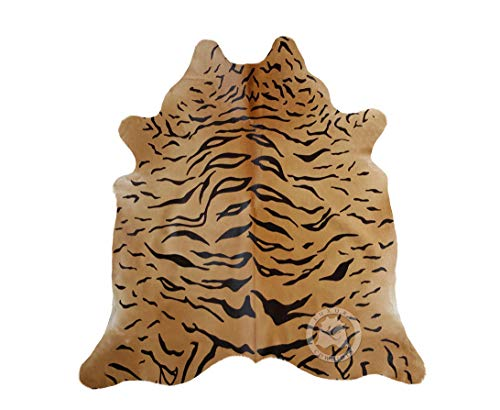 Tiger Cowhide Rug Cow Skin Leather Area Rug XL Approx 5.5 x 7 ft. - Brazilian Cowhide Rug