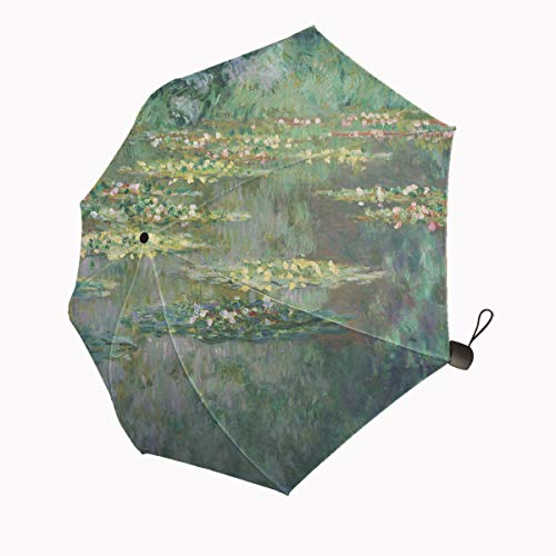 Huakz Monet's Art Painting of Water Lotus Customized Umbrella Surface Design Green Plant Lake 10.5
