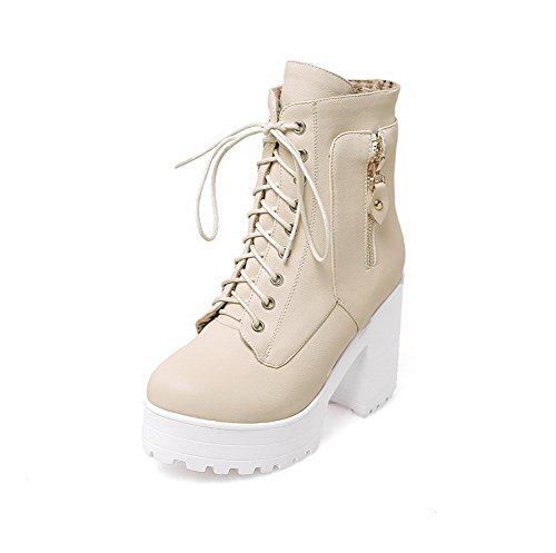 Allhqfashion Women's Round Closed Toe Low-Top High-Heels Solid PU Boots Beige 5NrGErWS2y