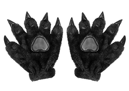 Adult Vintage Monster Costumes (Unisex Adults Thick Animal Paw Claw Gloves Halloween Monster Dinosaur Bear Costume Gloves Winter Thermal Cotton Padded Hand Warmer Mittens Christmas Birthday Gift)