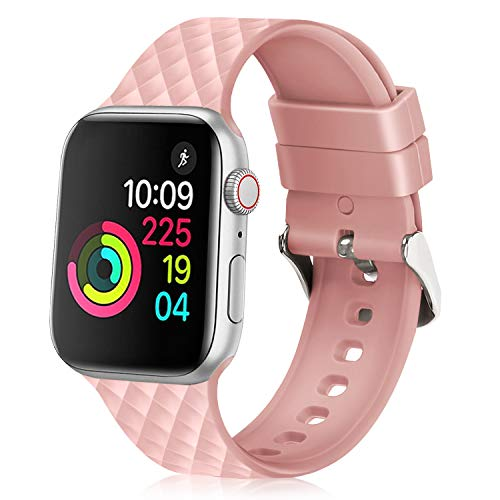 JIELIELE Compatible with 38mm 42mm Apple Watch Band Sport Silicone Replacement Wristband Women Man Strap for iWatch Series 4/3/2/1 (Pink, 42mm) ()