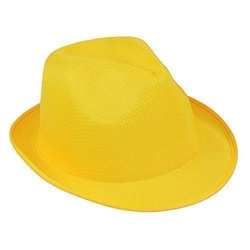 Ladies & Mens Summer Sun Hat - Fedora Panama Trilby Straw Style Beach Unisex (Yellow)