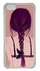Transparent PC Case Cover for iPhone 5C,Hard Plastic Shell Case for iPhone 5C Printed by Beautiful Back of Girl