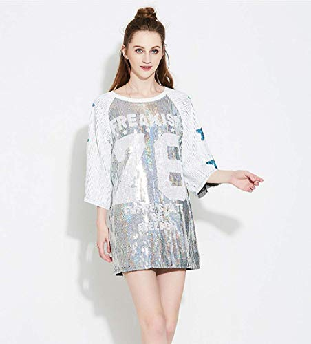 Sequin Shirt Dress - Big Girl T Shirt Fat Sequin Top O Neck Shimmer Tank Top Street Dance T Shirt Night Club Top Silver