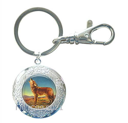 Howling Coyote Linen Postcard Locket Key Ring Locket Keychain - Desert Jewelry - Coyote Locket Keychain - America West Jewelry - Coyote Locket Key Ring - Howl at the Moon.XT152 (A) (One Little Coyote Howling At The Moon)