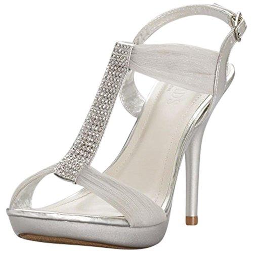 (David's Bridal Crystal T-Strap High Heel Sandals Style BELIZE12, Silver, 8)