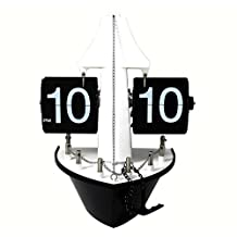 CC Creative Auto Flip Clock, Retro Sailing Boat , Black