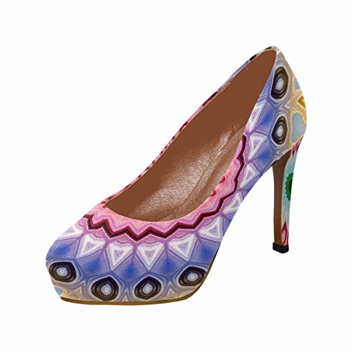 Pompe Per La Piattaforma Del Tallone Di Alta Moda Di Womens Classic Fashion Pumps Astratto Fiore Luminoso Mandala
