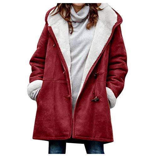 Clearance Sale Fleece Winter Coat Plus Size,Women Warm Parka Hooded Zipper Jacket (Red 2, 4XL)