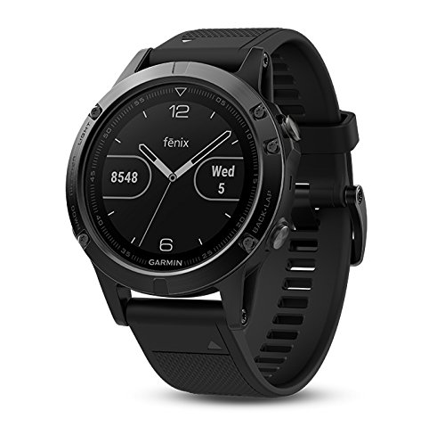 Garmin Fenix 5 Sapphire (Black/Black Band) Gift Box Bundle | Includes Extra Band (Yellow), Glass Screen Protector, PlayBetter USB Car/Wall Adapter, Protective Case | Multi Sport GPS Watch, Wrist HR