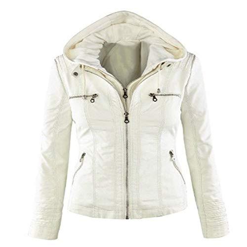 Blousons Faux Femme Éclair Elonglin En Moto Manteau Blanc À Style Manches Veste Fermeture Capuche Longues Courte Similicuir 4gqOAqc