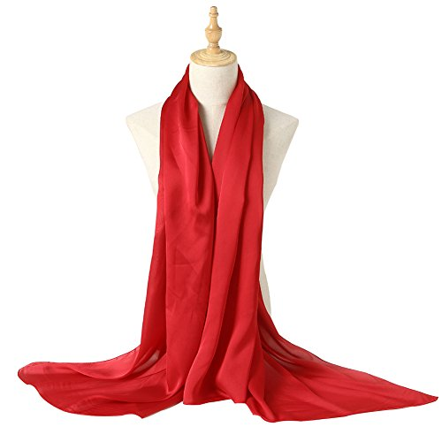 (Bellonesc Silk Scarf 100% silk Long Lightweight Sunscreen Shawls for Women (purplish red))