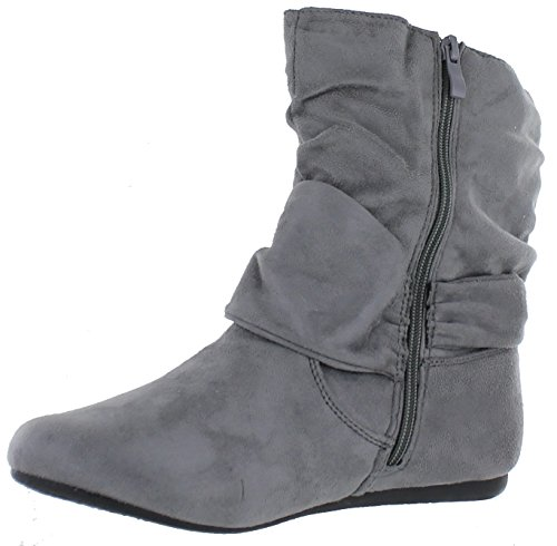 Flat Zipper Calf Boots Ankle Heel Slouch Grey Side Fashion Women's BU7qR7E