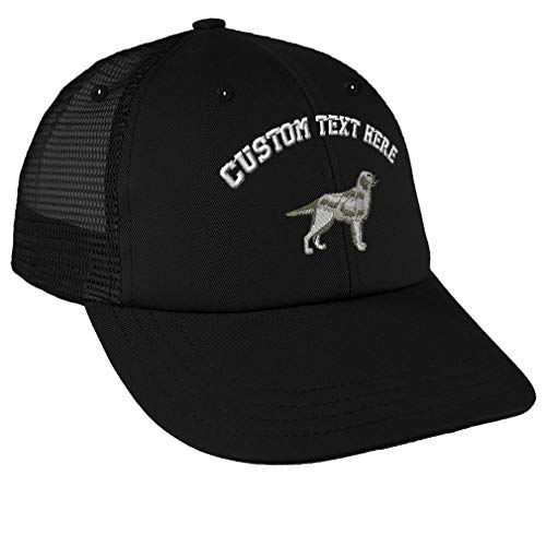 - Custom Text Embroidered English Setter Unisex Adult Snaps Cotton Low Crown Mesh Golf Snapback Hat Cap - Black, One Size
