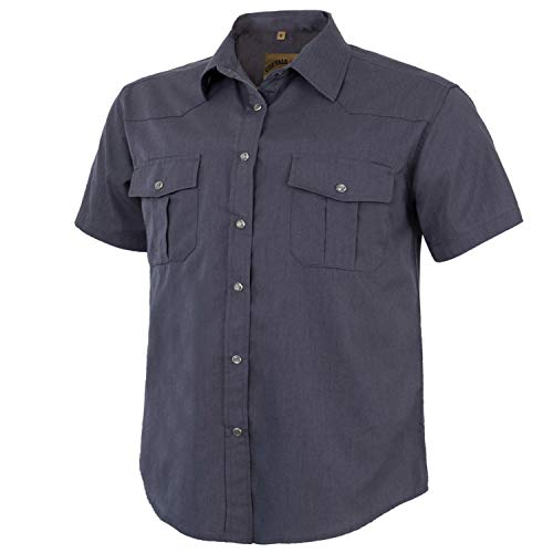 Coevals Club Men's Short Sleeve Casual Western Solid Snap Buttons Shirt (S, Gray) -