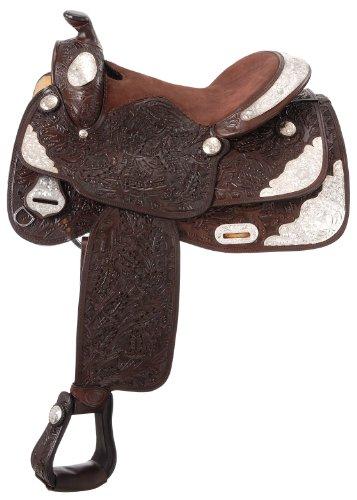 Silver Show Saddles - Tough 1 Classic Oak Silver Show Saddle, Dark Oil, 16-Inch