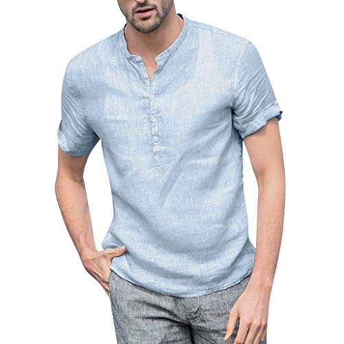 Transser Men's Cotton Blend Loose Fitted Short Sleeve Shirts Stand Collar T Shirts Casual Blouse