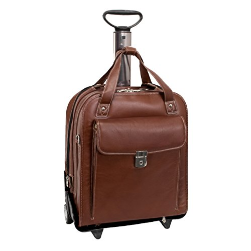 Siamod PASTENELLO 45314 Cognac Leather Vertical Detachable-Wheeled Laptop
