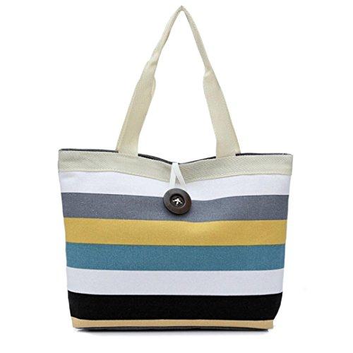 ags, Lady Canvas Stripes Colored Shopping Handbag Shoulder Bag Convenient Tote Purse (Khaki) ()