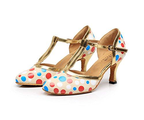 JSHOE Womens Latin Dance Fermé Orteil Talon Haut Salsa / Tango / Chacha / Samba / Moderne / Jazz Chaussures Sandales,D-heeled7.5cm-UK5.5/EU38/Our39
