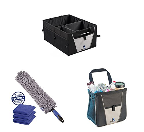 Car Organizing Ideas Set - Busy Life Car Garbage Can, Car Boot Organizer, and Car Interior Duster All the Basics Needed for Storage, Cleaning and Keeping Car Litter Picked Up. (3 (Original Organizer Refills)