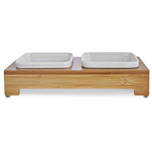 Harmony Bamboo Double Diner with Ceramic Dog Bowls, Medium