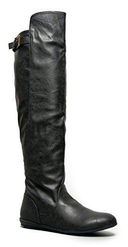 Delura MYSTERE Sleek Over the Knee Classic Flat Riding Boot Black Pu 6 B(M) US