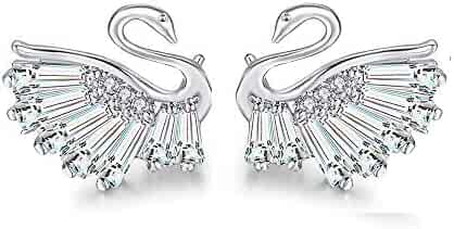 86a1b82db Zhang Trading 925 Sterling Silver Needle White Swan Crystal Stud Earrings
