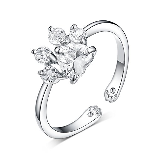 Viola Tricolor Cute Paw Silver Plated Adjustable Rings Clear Cubic Zirconia Crystal Ring for Animal Lovers Women and Girls
