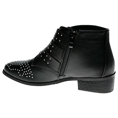 Feet First Fashion Womens Low Heel Buckle Biker Ankle Boots Black Faux Leather LBy2W95qH