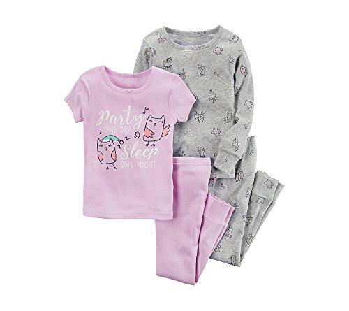 Carter's Girls' 6 Months-14 4 Piece Owl Party Pajama Set 12 (Girls Carters 2 Piece Pajamas)