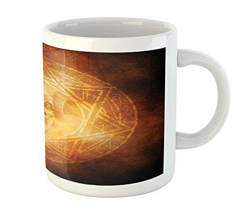 Ambesonne Horror House Mug, Demon Trap Symbol Logo Ceremony Creepy Scary Ritual Fantasy Paranormal Design, Printed Ceramic Coffee Mug Water Tea Drinks Cup, Orange by Ambesonne