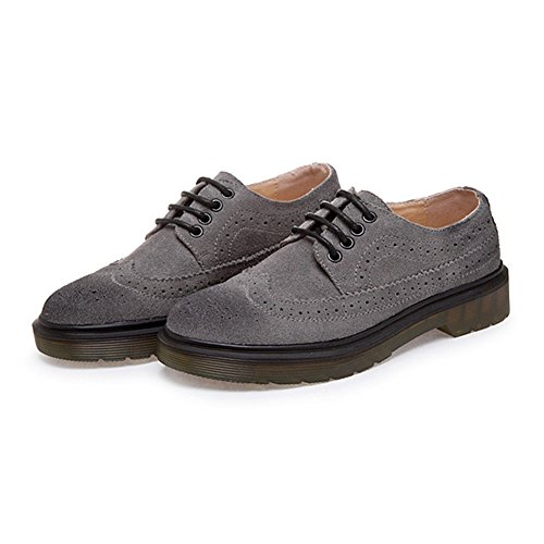 GIY Womens Lace-Up Low Chunky Heel Casual Oxford Shoes Vintage Wing Tip Carving Brogue Shoes Grey DrEmlJz1Vt