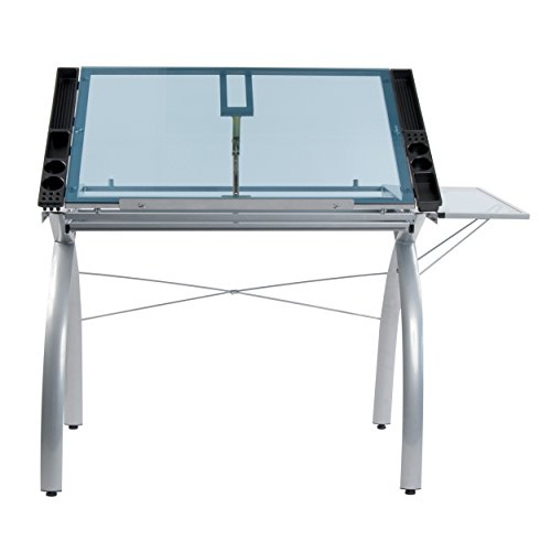 Studio Designs 10095 Futura Craft Station with Folding Shelf, Silver with Blue Glass by Studio Designs