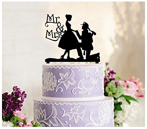 Delia32Agnes Wedding Cake Topper Mr and Mrs Romantic Couple Bride and Groom Firefighter Wedding Silhouette]()