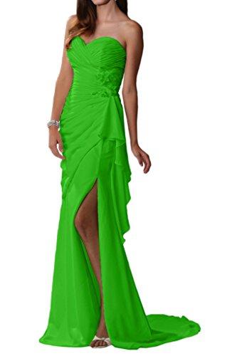 Partykleider Brautjungfernkleider Beige La Sexy Grün Chiffon Braut Traegerlos Elegant Abendkleider mia Schlitz wC0x8S0qY