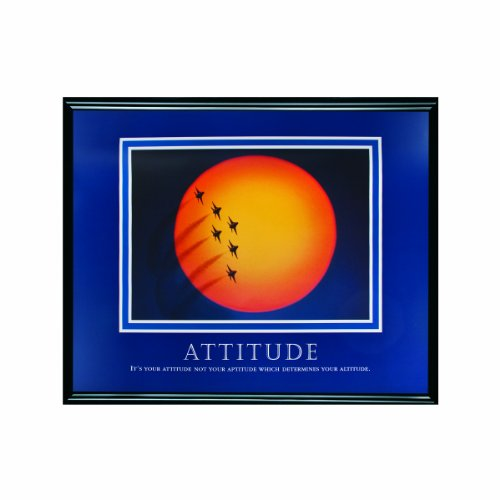 ADVANTUS Framed Motivational Print, Attitude (Jets), 30 x 24 Inches, Black Frame (78038) - Jets Framed Motivational Print