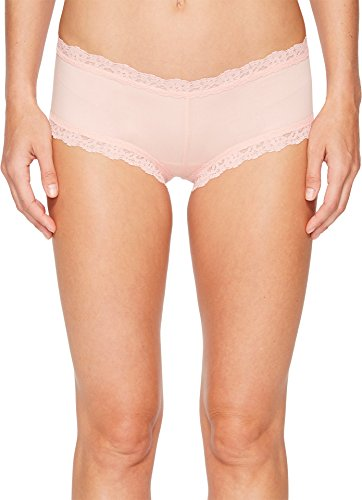 Hanky Panky Women's Organic Cotton Boyshort w/Lace Rosita Pink Small - Hanky Panky Mid Rise
